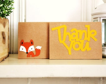 Woodland Thank You Cards - woodland creatures, fox, skunk, raccoon, hedgehog, squirrel, cards, thank you