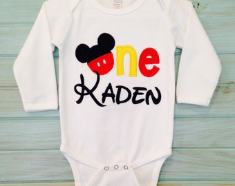 1st birthday long sleeve white personalized onesie appliqued with Mickey ears by That's  Sew Mimi