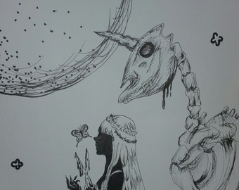 Original Pen and Ink Drawing on Artisan Paper