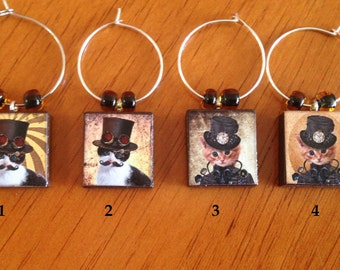 Steampunk Kitty Wine Charms
