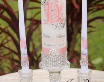 Blush Unity Candle & Holder Set.... Pink Candle, Wedding Candle, Rhinestone Candle, Unity, Ceremony candle, Candle Holder, Personalized