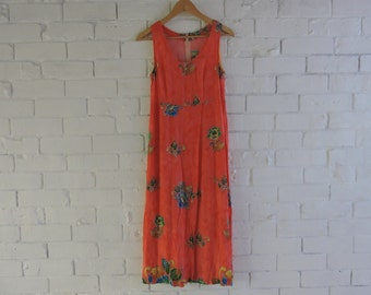 Vintage Pattern Orange Dress