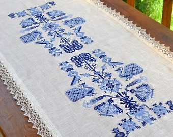 Table runner embroidered, linen table runner, custom table runners, rustic table runner, natural linen table runner