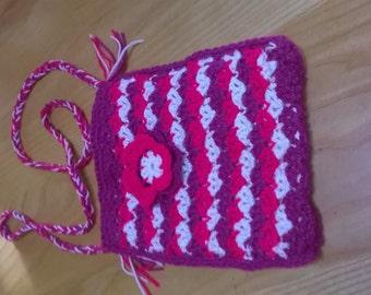 Handmade Crocheted Over Body Bag , fully lined with flower.