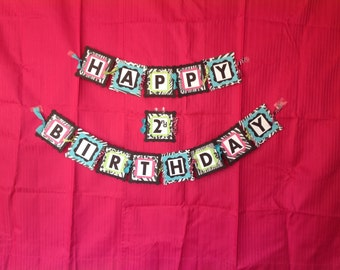 Zebra Banner, Zebra Happy Birthday Banner, Zebra and Hot Pink Banner, Girls Birthday Banner, Zebra Print Birthday, Hot Pink & Zebra Birthday