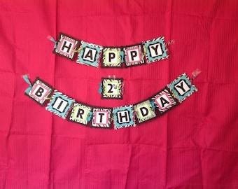 Zebra Banner, Zebra Happy Birthday Banner, Zebra and Hot Pink Banner, Girls Birthday Banner, Zebra Print Birthday, Hot Pink & Zebra Birthday