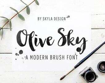 Modern brush font, Brush font, Digital font, Font download, hand lettered font, Script font, calligraphy font, watercolor font, black ink