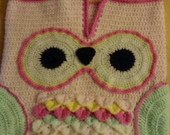 Handmade crochet owl baby sleep sack with matching hat. 0-3 months