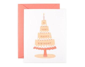 Birthday Cake - A Very Happy Birthday Letterpress Card