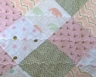 Baby girl quilt, woodland bedding, crib quilt, pink, mint, gold, white, polka dots, bears, deer, chevron, rustic, modern, country chic.
