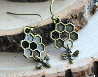 Bee & Honey Comb Earrings - Antique Bronze Earring Charm and Hook - Hanging Honey Bee Earring - Vintage Style - Dainty Jewelry (BD085)