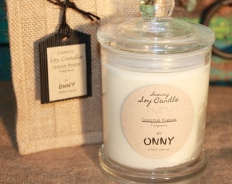 Large Soy Candle - Coastal Breeze in Hessian Bag