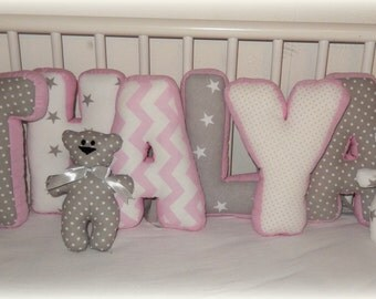 Baby letter pillow desire name bumper fabric letters baby pillow