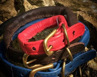 SALE ITEM Rolled Leather Dog Collars Comfortable Dog Collar Strong Dog Collar Climbing Rope Core Coloured Leather Dog Collars Soft Leather