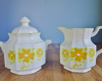 1970's Kensington Ironstone Sugar and Creamer Set - Piccadilly Design