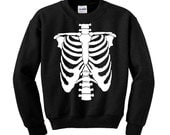 Halloween SKELETON CHEST JumperSweatshirt Trick Treat Fancy Dress Scary Costume