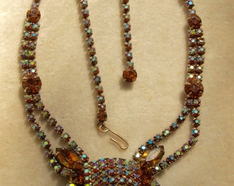 1950's Rhinestone Necklace in Autumn Colors