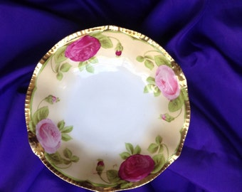 Gorgeous, hand painted, serving bowl from Prussia