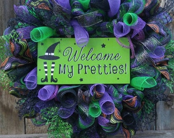 Halloween mesh wreath, witch wreath, welcome my pretties wreath, Halloween door hanger, Halloween decor, witch decor