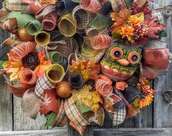 Owl wreath, fall wreath, fall mesh wreath, Autumn wreath, thanksgiving wreath, owl mesh wreath