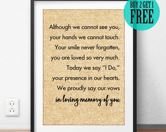 In Loving Memory of You Burlap Print, Wedding Gift For Couple, Rustic Memorial Decor, Wedding Memorial Sign Print, Valentines Day Gift -SD22