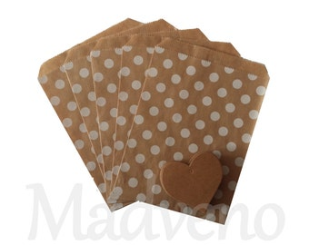 Lot of 10 bags kraft white polka dots paper