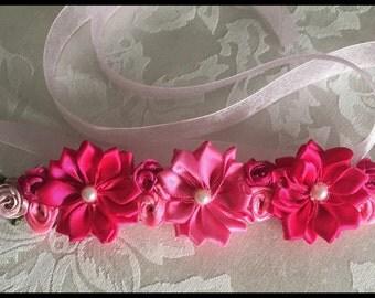 Tendu muti pink coloured bun ribbon crown flower bun wrap, hair bun wrap & crown holder , flower hair bun , floral bun wrap, bun accessories