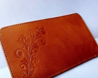 Brown leather mobile phone case