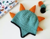 Custom Crochet Dinosaur Hat with Spikes and Ear Flaps photo prop geeky gift paleontologist BABY 06 months 612 months. Made to Order