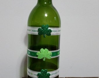 St. Patrick's Day decorated wine bottle
