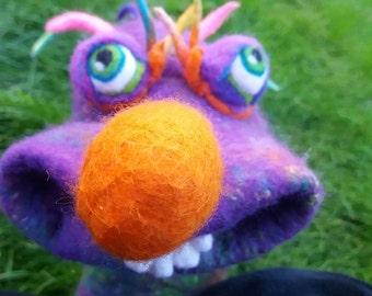 Felted Hand Puppet - Orange-nosed Alien