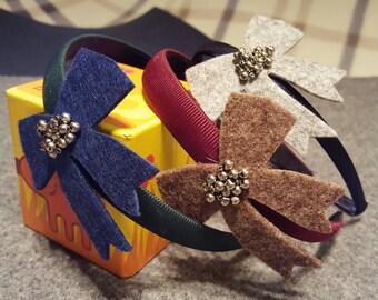 Bow headbands made of felt-Handmade
