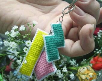 Cute cross stitched pink, yellow and turqoise TETRIS keychain, purse/zipper charm