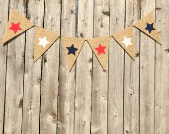 Red white and blue stars burlap banner..fourth of july banner..july fourth banner