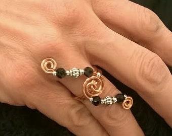 Spiraling Moon Rings