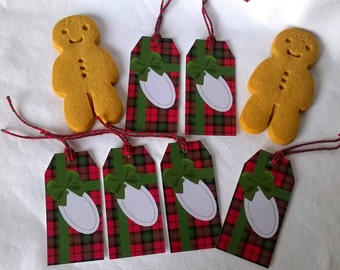 6 Christmas labels Scottish plaid