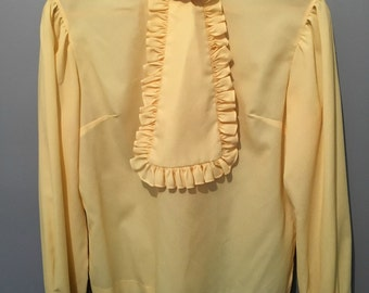 Vintage 1960s Elite Yellow Ruffle Blouse Removable Jabot