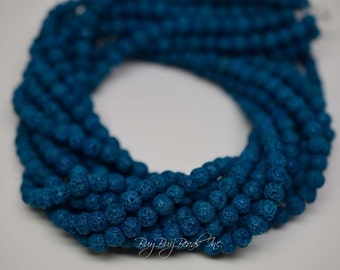 6MM, Natural Lava Beads, Turquoise, Natural Lava Round Beads, 1 Strand (Approx 60-63 Beads)