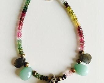 India semi-precious stones and old silver pendant bracelet