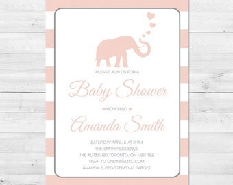 Baby Shower Invitation Girl, Elephant Baby Shower Invitation, Pink And Grey Baby Shower Invite