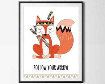 Nursery Print, Tribal Nursery Print, Fox, Follow Your Arrow, Gender Neutral, Arrows, Wall Art, Instant Download
