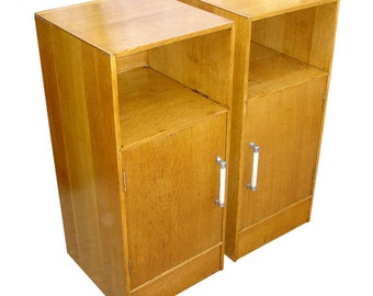 A pair of Solid Oak Bedside cabinets, Midcentury vintage 1950s repolished