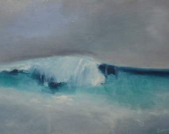 Seascape, painting oil on canvas paper mounted on wood (15x25x1cm)