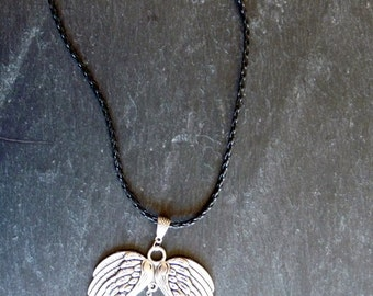 Necklace pen Peacock and Angel - cord and feather Peacock and Angel Pendant - Necklace peacock feather wings angel-