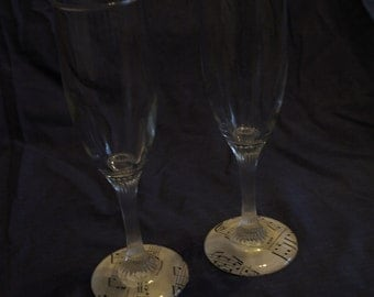 Vintage Music Champagne Flutes
