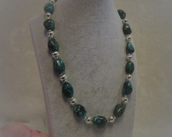 Chunky Green Turquoise and Silver Beaded Necklace.