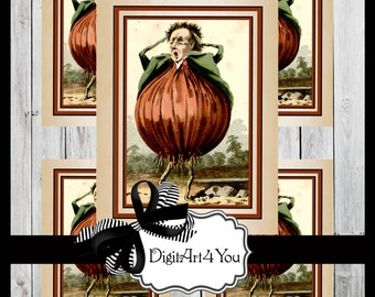 Greeting Card/Cards/Onion/Veggies/Vegetables/Vegan/Cute/Kitchen/Strange/Unusual/Funny/DIY Card/Instant/Blank Card/Vintage Art/Vintage/Retro