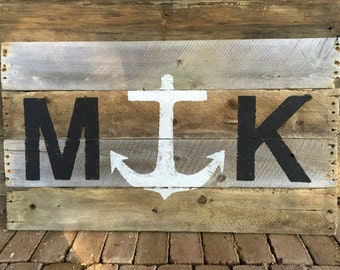Montauk Anchor Sign on Reclaimed Wood