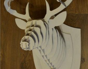 Wooden Deer Head 3D