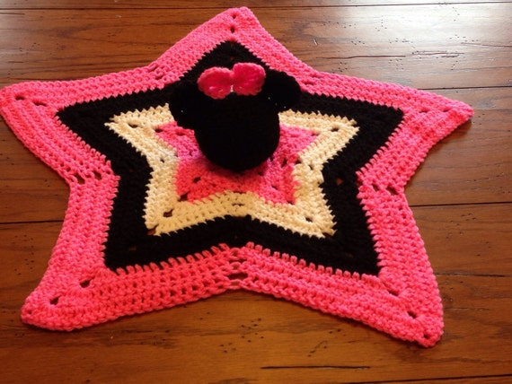 Crochet Pattern For Minnie Mouse Blanket : Crochet Minnie Mouse lovey security blanket Free Shipping